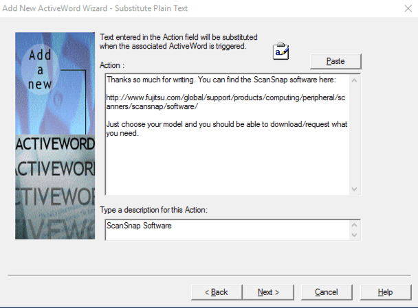 ActiveWords New Action
