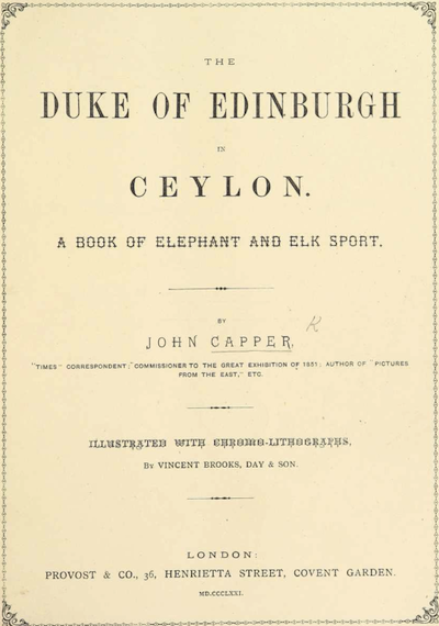 British Library Duke Of Edinburgh In Ceylon
