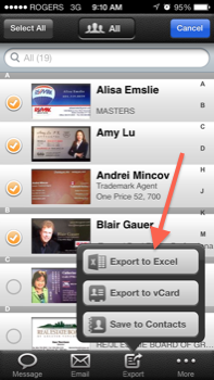 CamCard Export To Excel