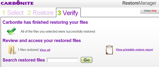 Files restored