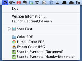 CaptureOnTouch Menu Bar