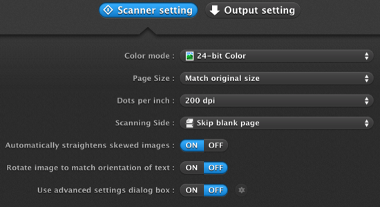 Scanner Settings