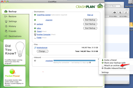 CrashPlan Attach An Archive