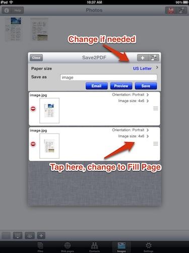 Save2PDF Create PDF Settings