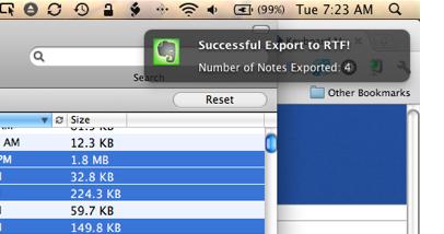 Evernote Export Successful