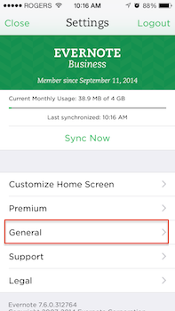 Evernote Context General Settings