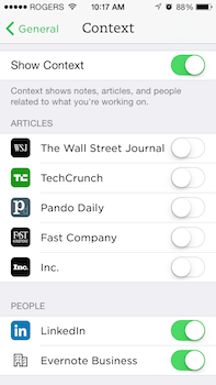 Evernote Context Article Settings