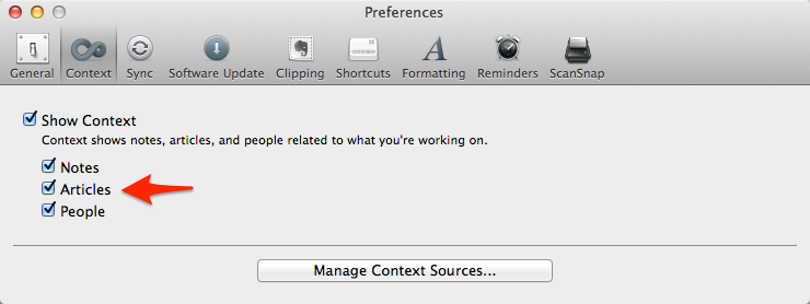 Evernote Context Preferences