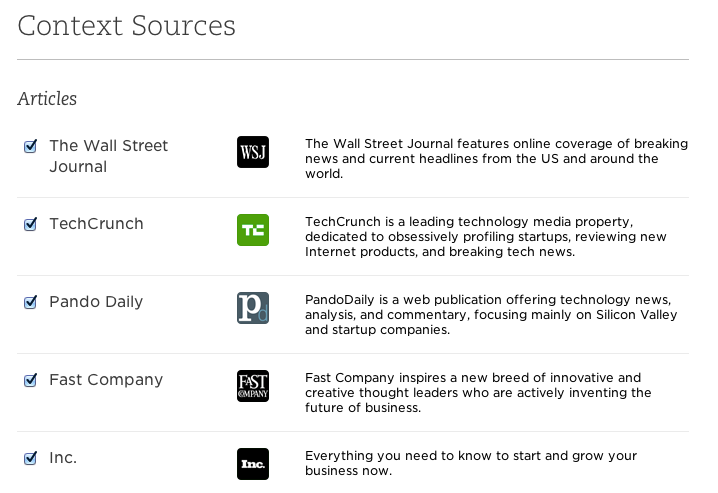 Evernote Context Sources