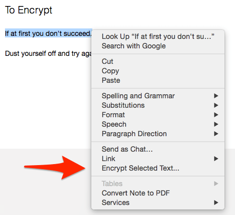 Encrypt Evernote Text