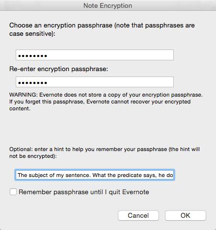 Evernote Encrypt Passphrase
