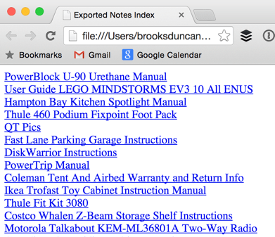 Evernote Export Index