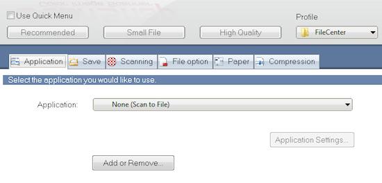 FileCenter ScanSnap Application Tab