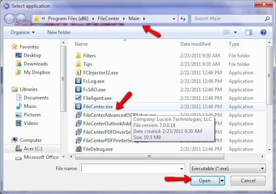 FileCenter Choose EXE