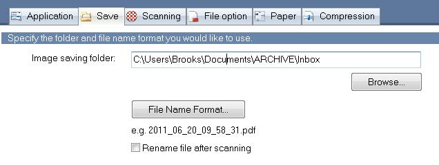 FileCenter ScanSnap Save Tab