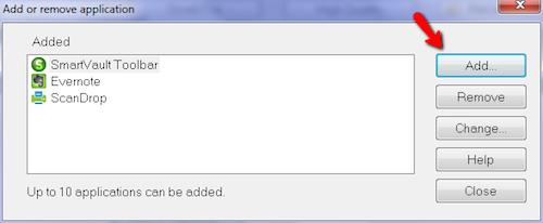 ScanSnap Add Application
