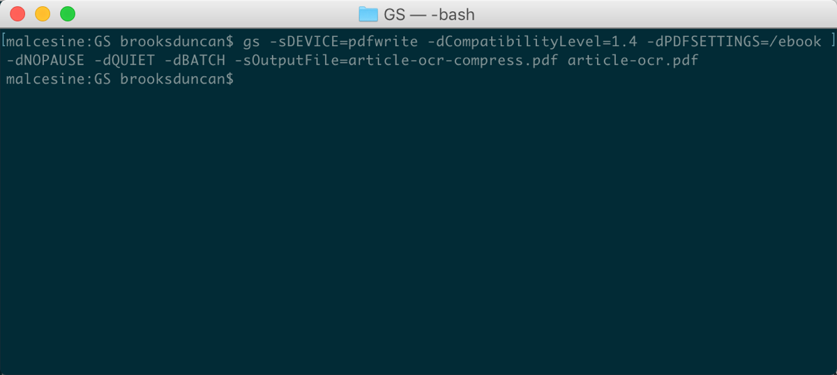Ghostscript Terminal Window
