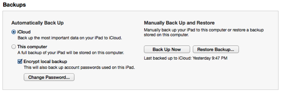iPad Backup Settings