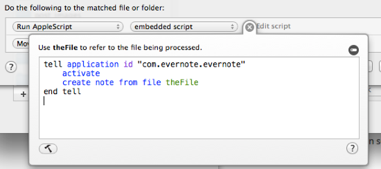 Hazel Evernote AppleScript