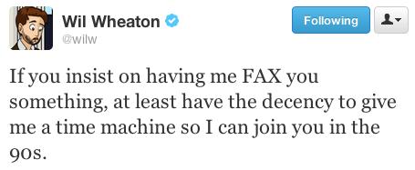 Wil Wheaton Faxing