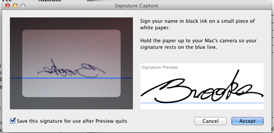 Capture signature in Preview using built-in camera