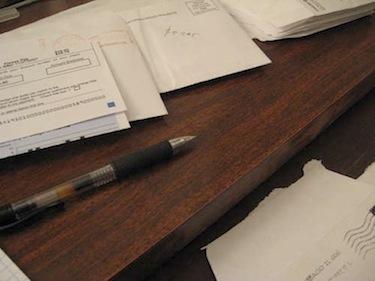 Desk with pen