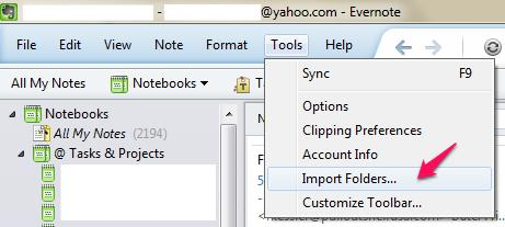 Evernote Tools Import Folders