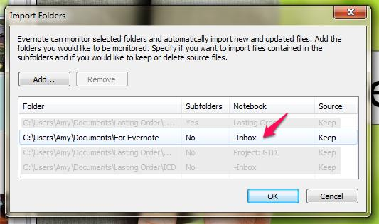 Evernote Setup Import Folder