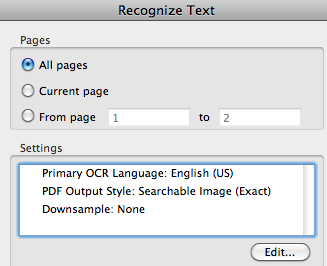 Adobe Acrobat OCR Settings