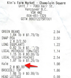 Kale receipt