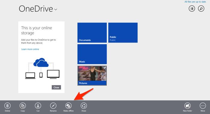 OneDrive App Make Offline