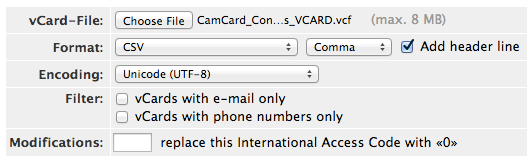 Online vCard to CSV