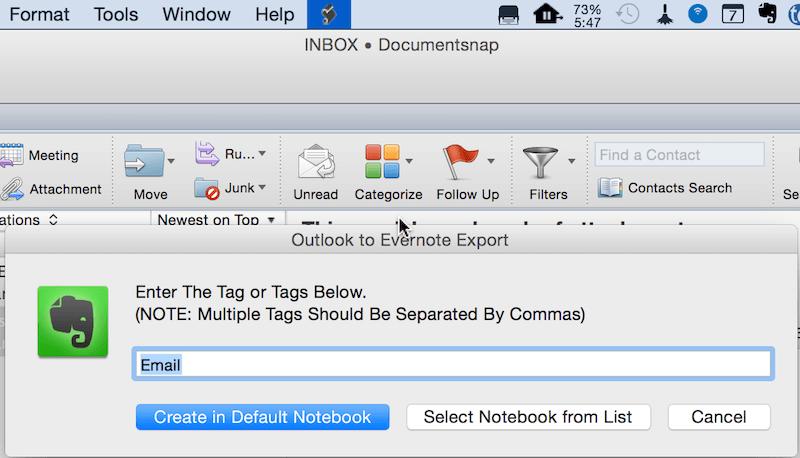 Outlook Mac Default Evernote Notebook