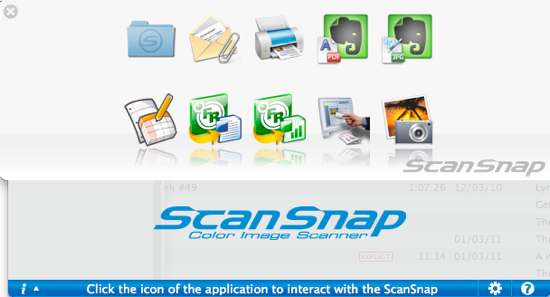 ScanSnap S1100 Quick Menu