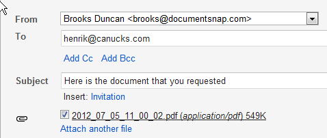 Gmail ScanSnap Document Attached