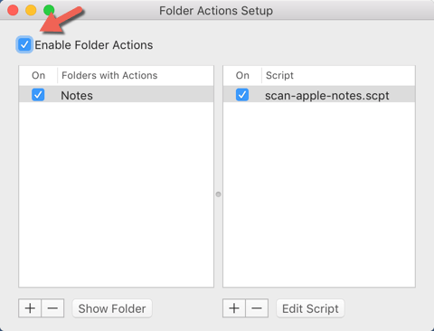 Scan To Apple Notes - Enable Folder Action
