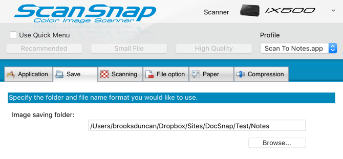Scan To Apple Notes - ScanSnap Profile