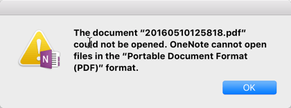 Scan To OneNote For Mac PDF Error