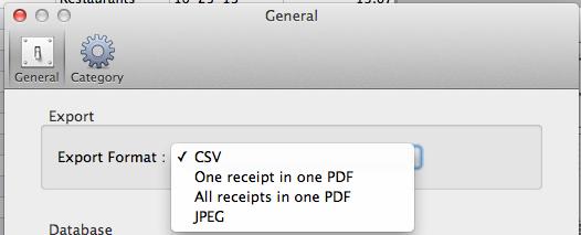 ScanSnap Receipt Export Options