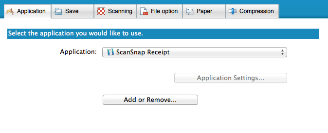 ScanSnap Receipt ScanSnap Manager Profile