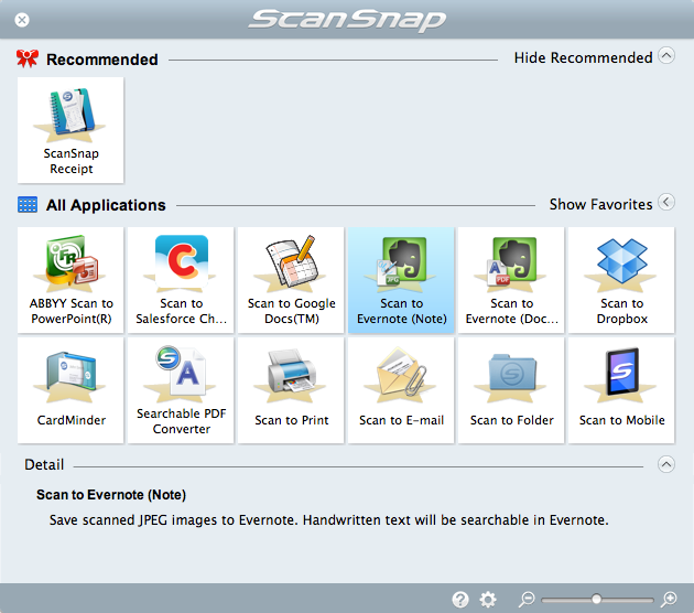 ScanSnap Receipt Quick Menu