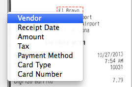 ScanSnap Receipt Select and OCR Text