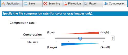 ScanSnap Manager Default Compression Tab