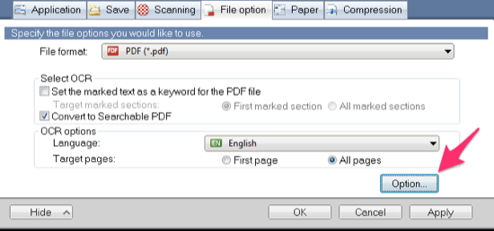 ScanSnap Manager File Option Tab
