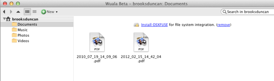 Wuala uploaded files
