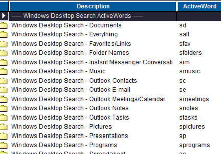 ActiveWords Windows Search Commands