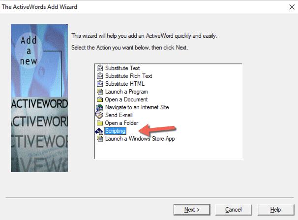 ActiveWords Scripting