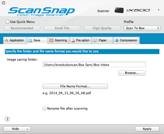 Box ScanSnap Save Tab