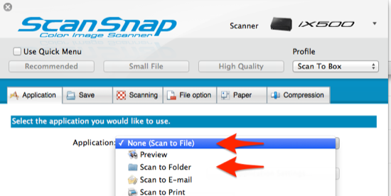 Box ScanSnap Scan To File