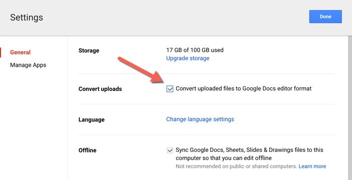 Google Drive Upload Settings
